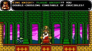 Shovel Knight : Plague of Shadows - King Knight se doute que Plague Knight ne vient pas en ami !